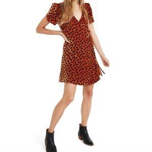 MADEWELL Leopard Dot Velvet Wrap Dress
